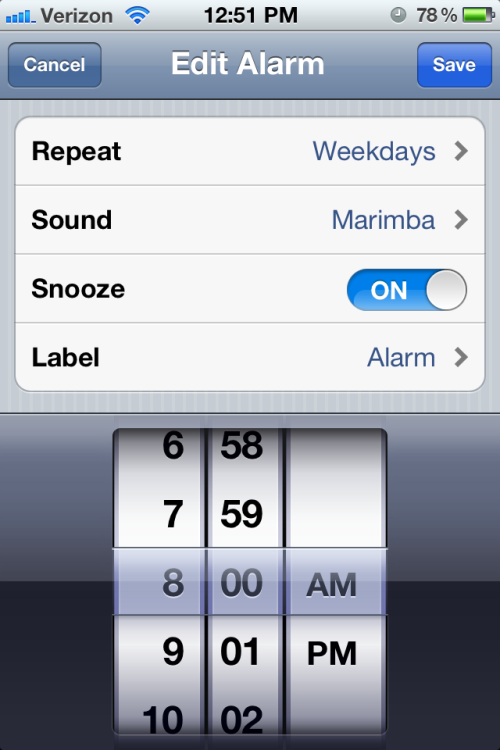iPhone alarm set for 8:00 am. I now wake up before this.